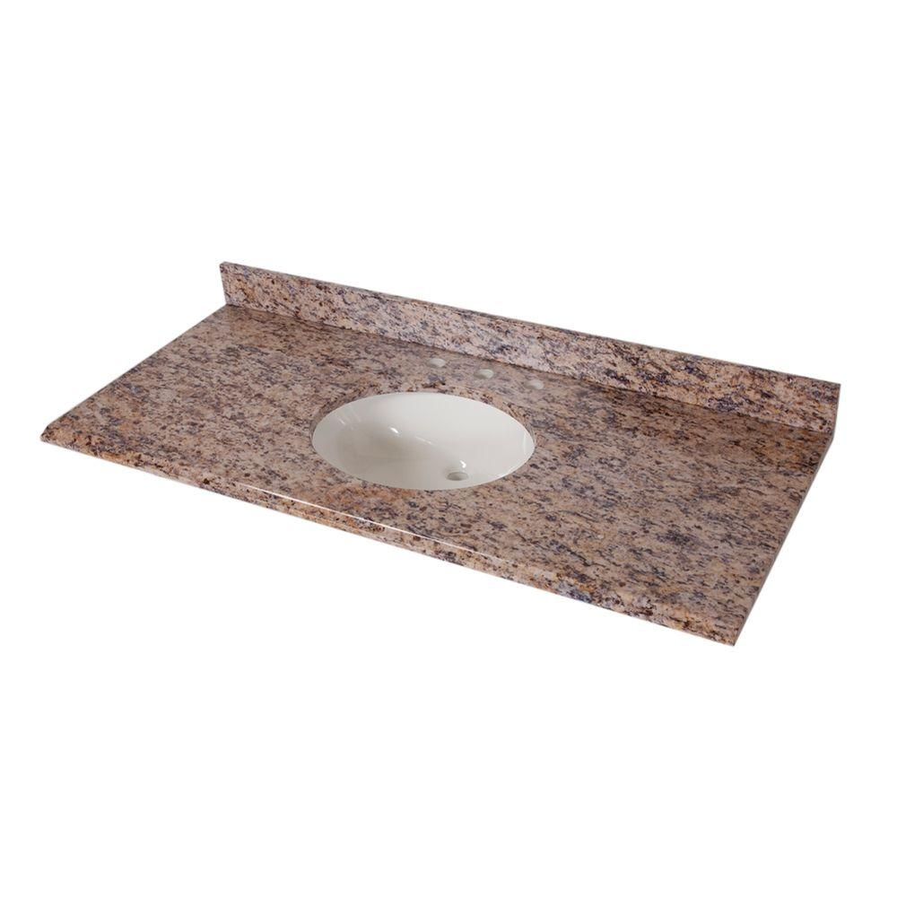 St. Paul 49 in. Stone Effects Vanity Top in Santa Cecilia with White Bowl