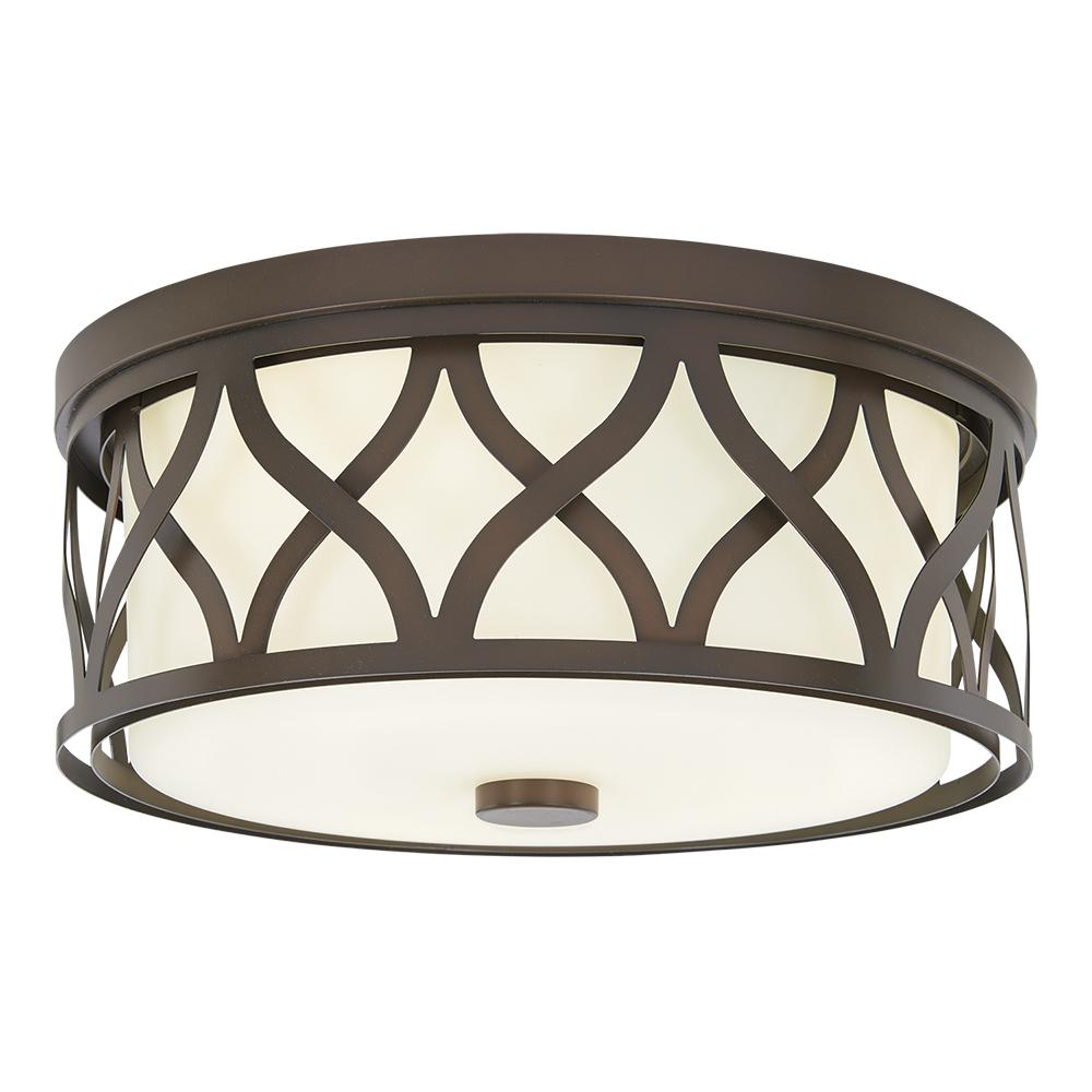 3-Light Harvard Court Bronze Flush Mount with Etched White Glass