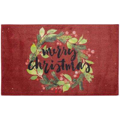 Christmas Wreaths Red 2 ft. 6 in. x 4 ft. 2 in. Area Rug