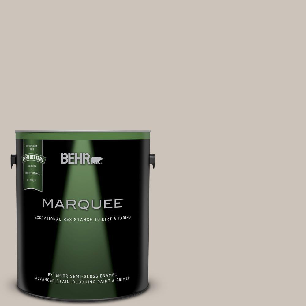 BEHR MARQUEE 1-gal. #N200-2 Doeskin Gray Semi-Gloss Enamel Exterior Paint