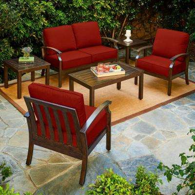 Bridgeport 6-Piece Metal Patio Conversation Set with Red Cushions