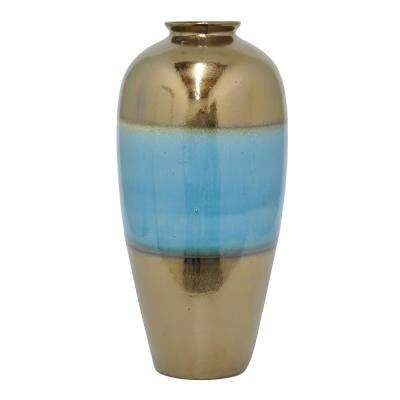 Gold and Blue Ceramic Vase with Glossy