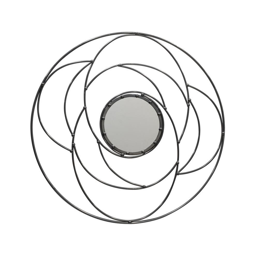 Evonne Modern Round Silver Wall Mirror