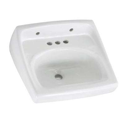 Lucerne Wall Hung Bathroom Sink in White with 4 in. Faucet Holes