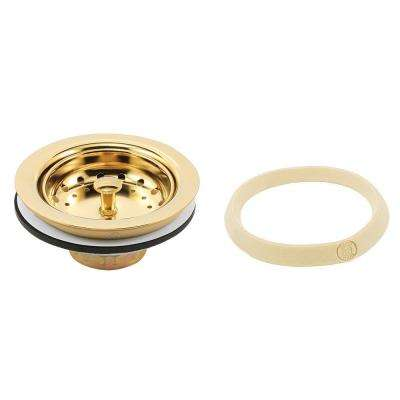 Basket Strainer Stainless Steel Post 3-1/2 in. to 4 in. Polished Brass with Putty
