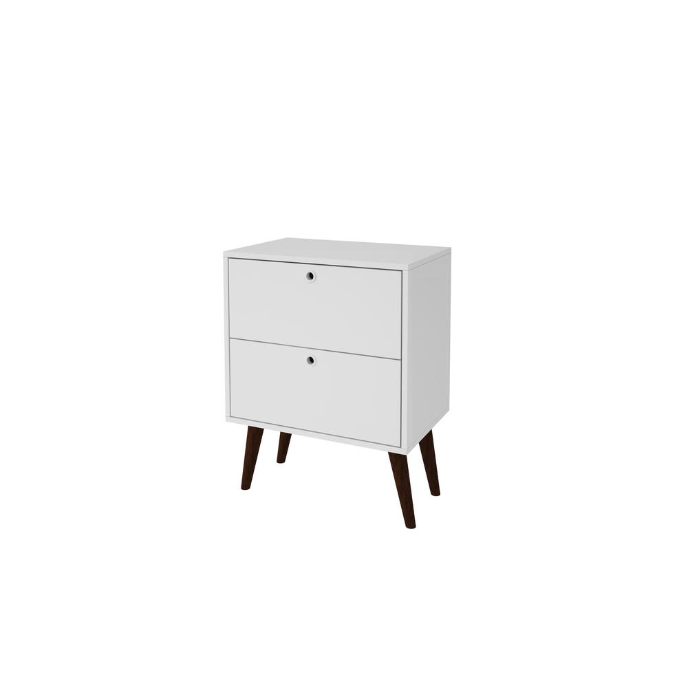 Taby 2-Drawer White MDP Side Table