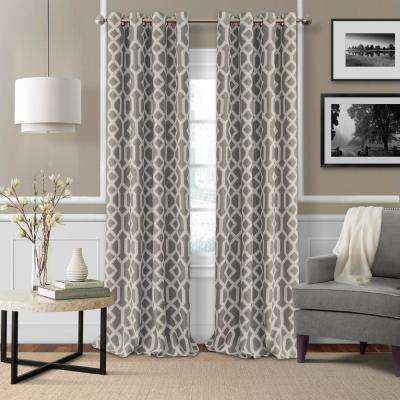 Elrene Grayson 52 in. W x 95 in. L Polyester Single Blackout Window Panel in Gray