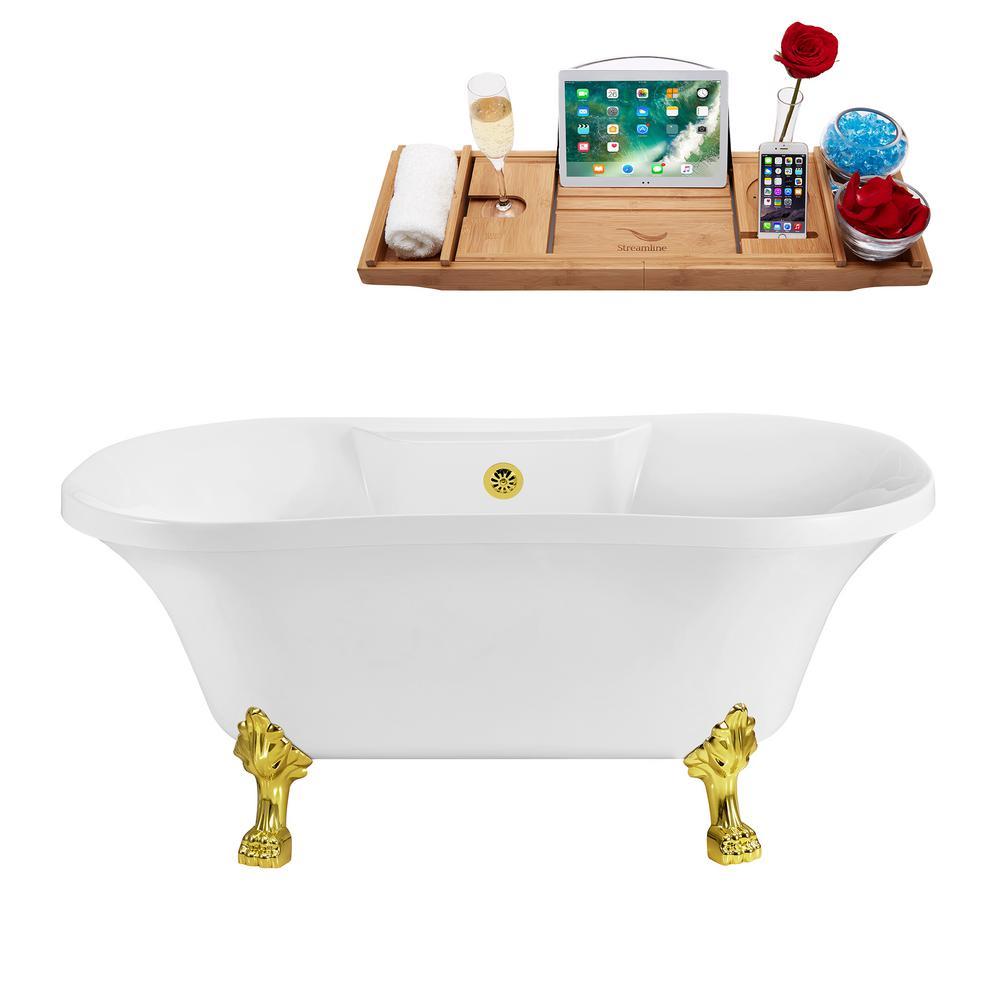 60 in. Acrylic Clawfoot Non-Whirlpool Bathtub in White