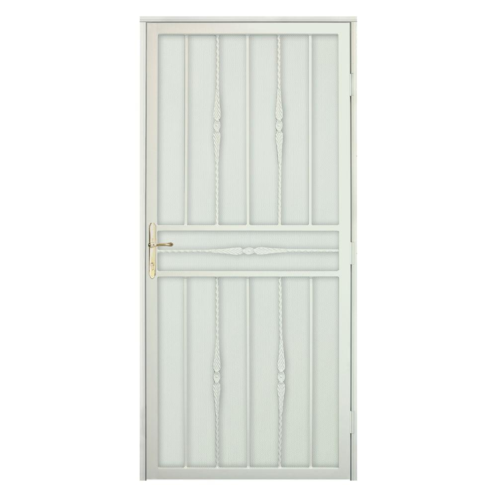 Unique Home Designs 36 in. x 80 in. Cottage Rose Navajo White Recessed Mount Security Door with Perforated Screen and Brass -DISCONTINUED