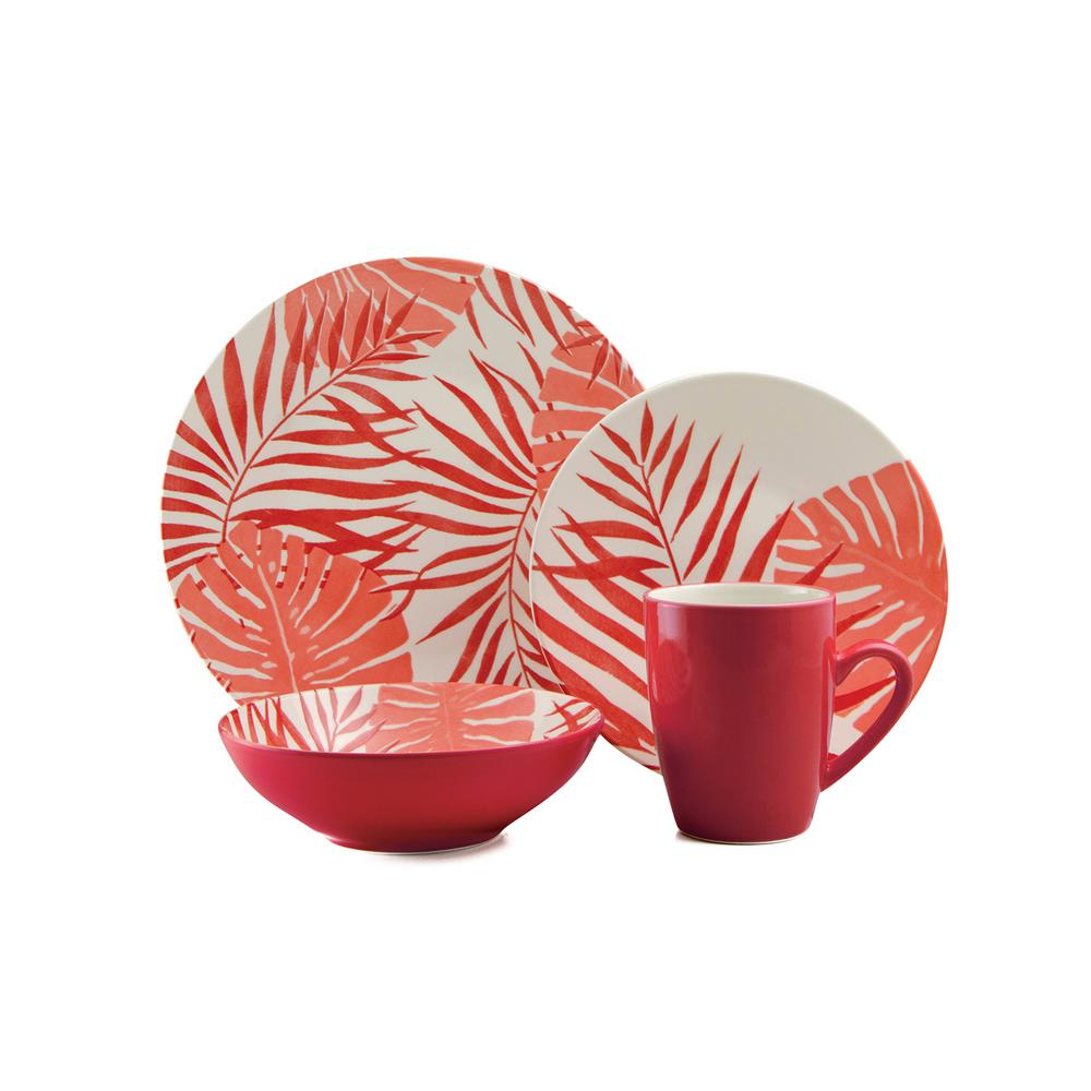 Palm Leaf 16-Piece Casual Coral Ceramic Dinnerware Set (Service for 4)