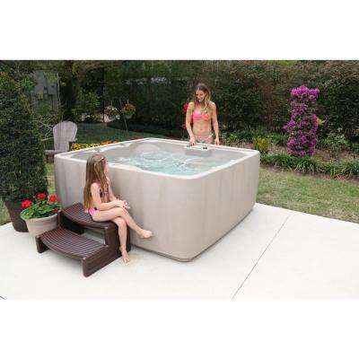 Premium 600 6-Person Plug and Play Hot Tub with 29 Stainless Jets, Heater, Ozone and LED Waterfall in Cobblestone