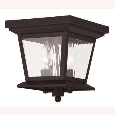 Hathaway 2-Light Bronze Outdoor Flushmount