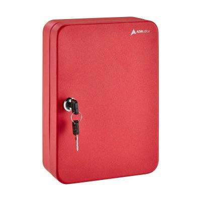Secure Steel 30 Key Cabinet with Key Lock, Red