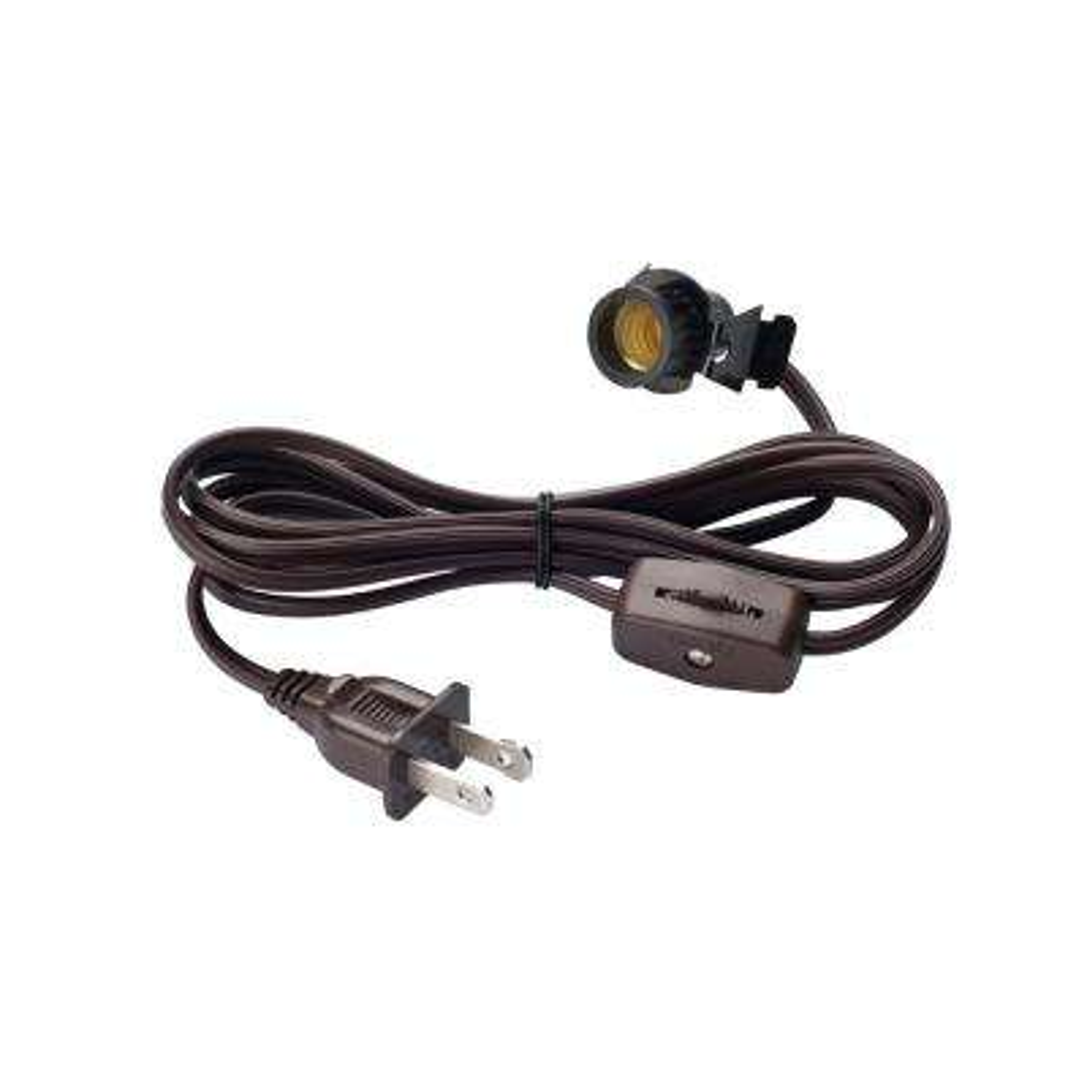 6 ft. Brown Candelabra Base Socket and Cord Switch Set