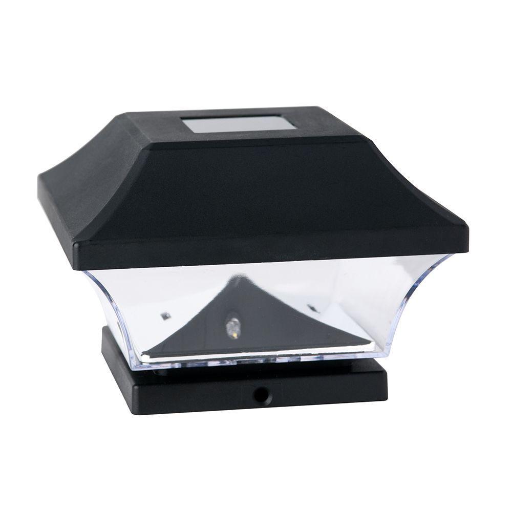 Solar Powered LED Black Plastic Post Cap Light (4-Pack)