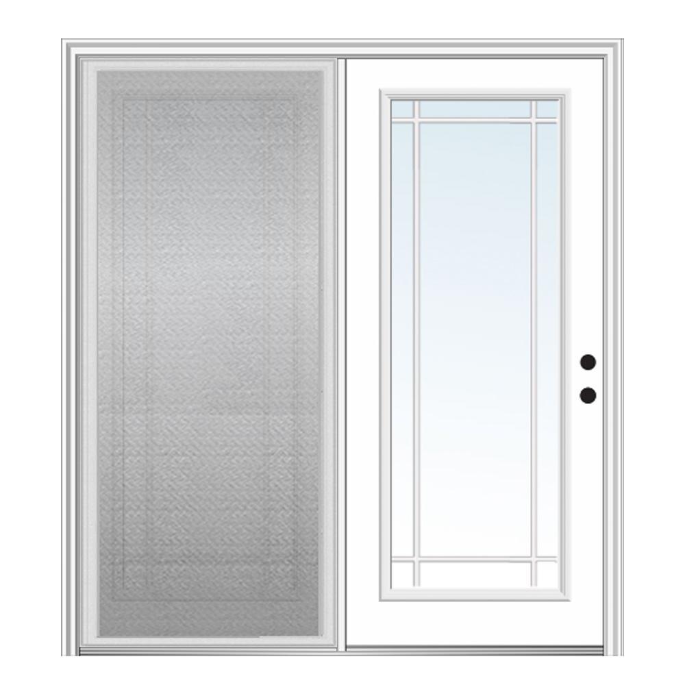 MMI Door 72 in. x 80 in. Primed Fiberglass Prehung Left Hand Grilles Between Clear Glass Full Lite Hinged Patio Door with Screen