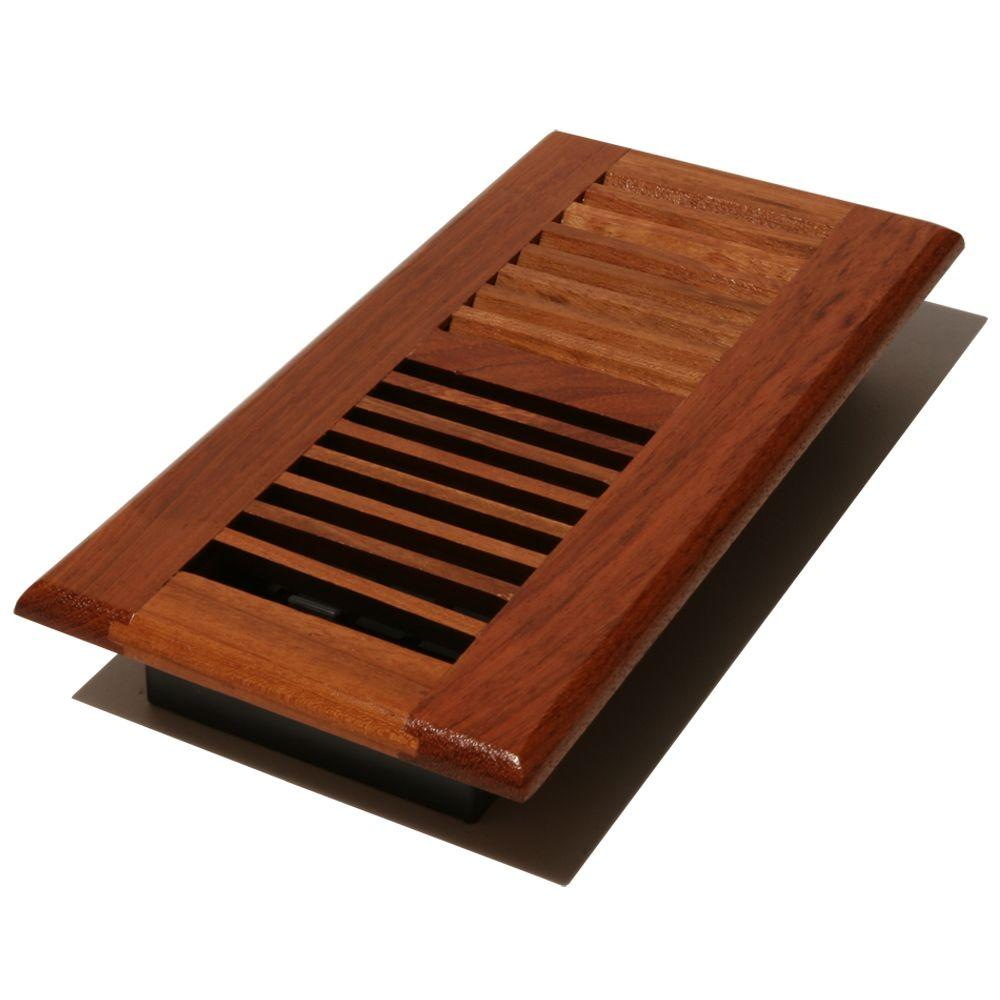 Decor Grates 4 In X 10 Louvered Floor Register Natural Cherry