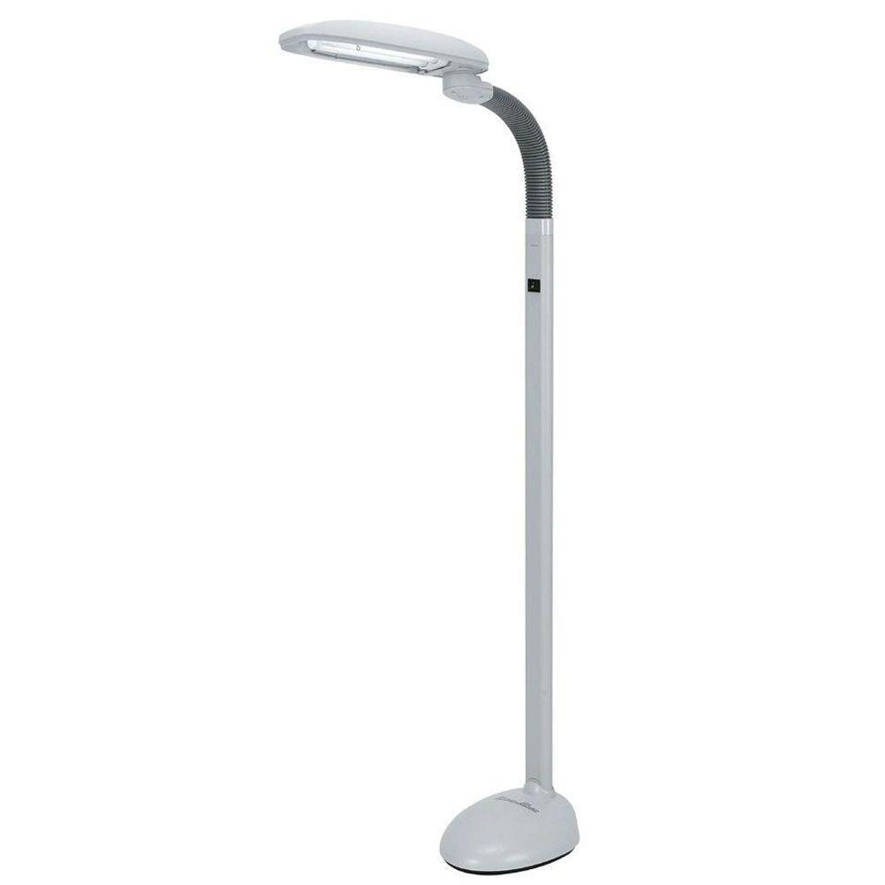 quality design 10851 af61e SPT EasyEye 48 in. 2-Tube Bulb Gray Floor Lamp