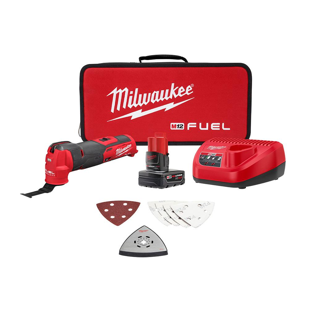 Milwaukee M12 FUEL 12-Volt Lithium-Ion Cordless Oscillating Multi-Tool Kit w/ 4.0 Ah Battery, Charger, accs and Tool Bag