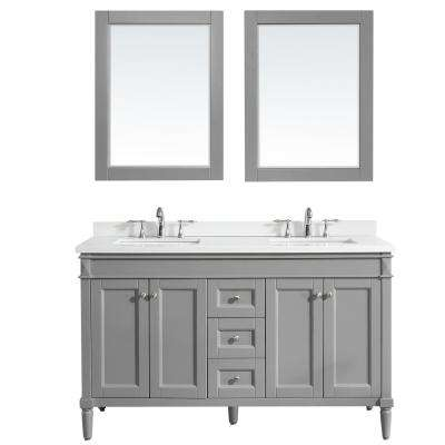 Catania 60 in. W x 22 in. D x 36 in. H Vanity in Grey with Quartz Vanity Top in White with White Basin and Mirror