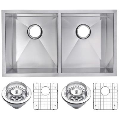 Undermount Stainless Steel 31 in. Double Bowl Kitchen Sink with Strainer and Grid in Satin