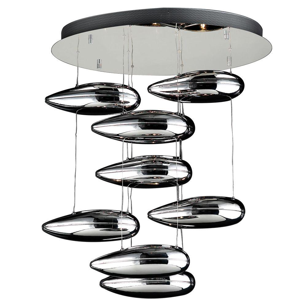 PLC Lighting 9-Light Polished Chrome Chandelier with Silvered Glass Shade