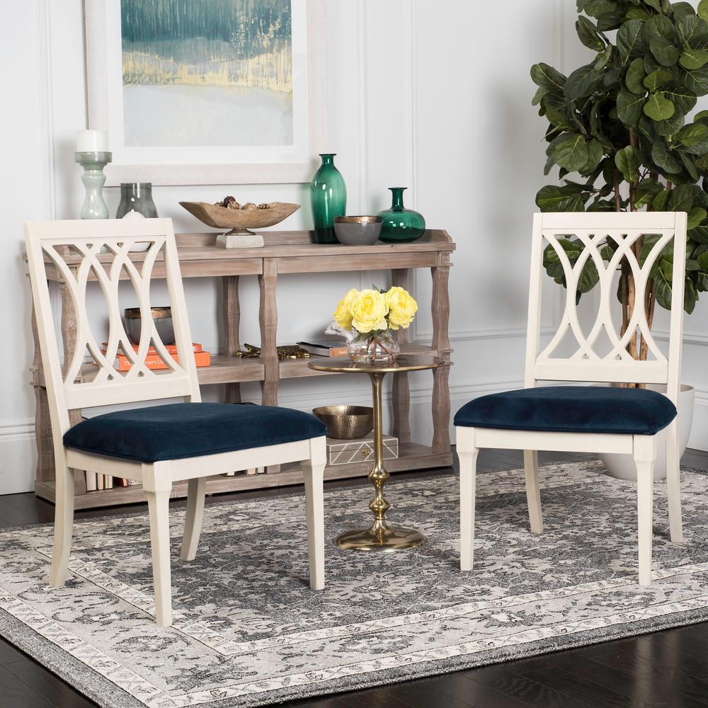 Selena Navy/Antique White 19 in. H Velvet Side Chair (Set of 2)