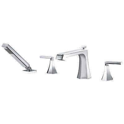 Shine Series 2-Handle Deck-Mount Roman Tub Faucet with Handheld Sprayer in Polished Chrome