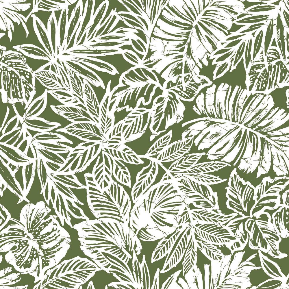 Roommates 28 18 Sq Ft Batik Tropical Leaf Peel And Stick