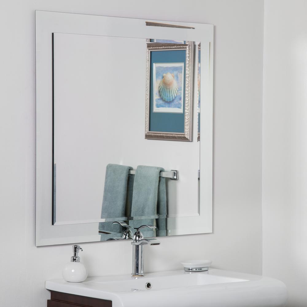 35 in. x 35 in. Large Frameless Square Beveled Edge Vanity Mirror