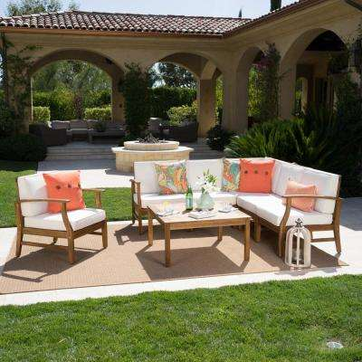 Lilian Teak Finished 7-Piece Wood Outdoor Sectional Set with Cream Cushions