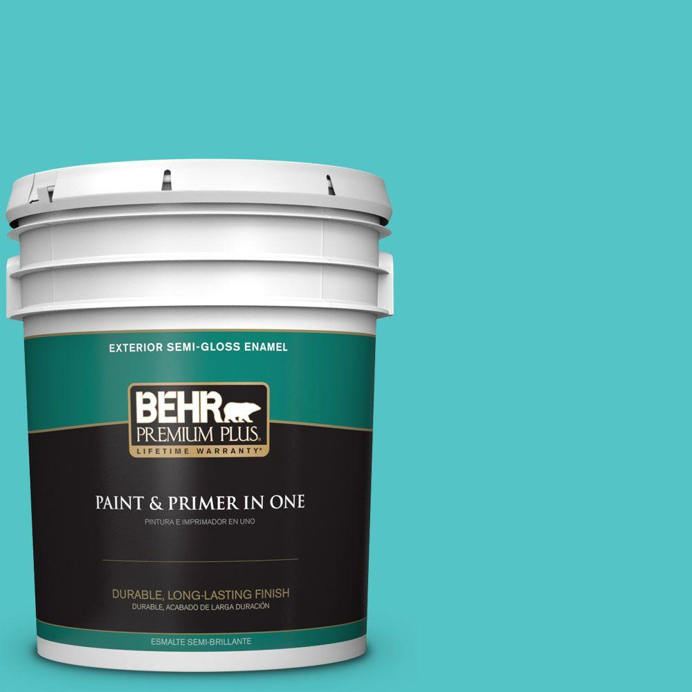 BEHR Premium Plus 5-gal. #500B-4 Gem Turquoise Semi-Gloss Enamel Exterior Paint