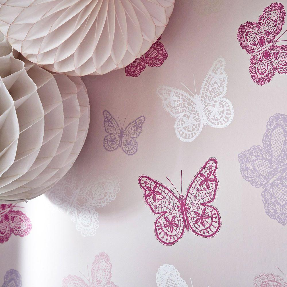 Graham Brown Erfly Pink Removable Wallpaper Sample
