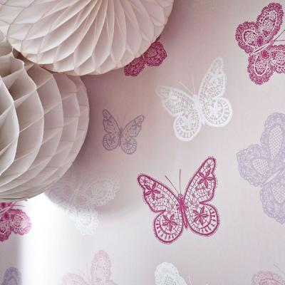 Butterfly Pink Removable Wallpaper Sample