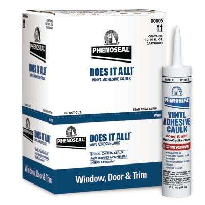 Does It All 10 oz. White Exterior/Interior Vinyl Adhesive Caulk (24-Pack)