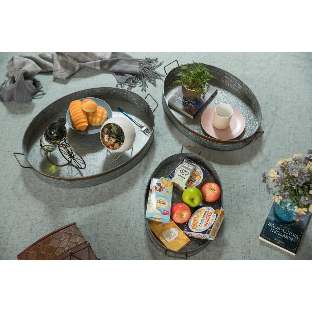 Galvanized Metal Oval With Handles Rustic Serving Tray Set Of 3 Qi003485 3 The Home Depot