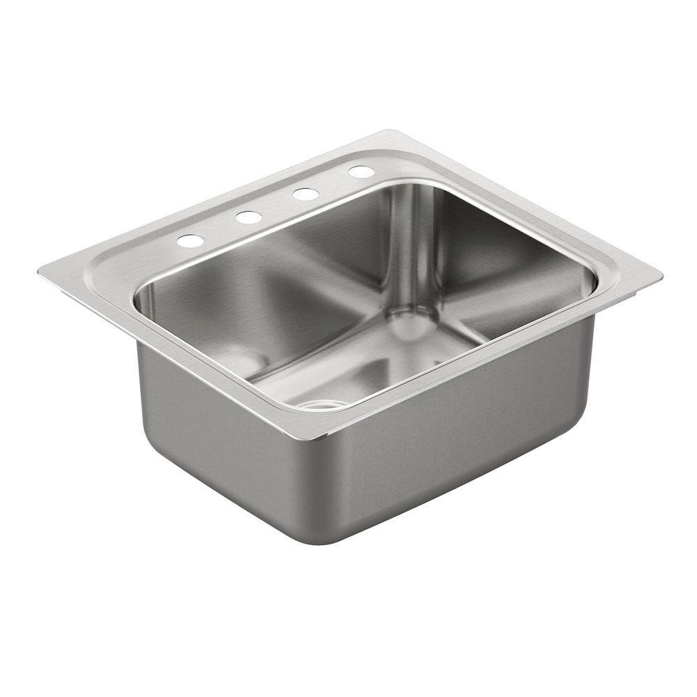 MOEN 1800 Series Drop-In Stainless Steel 25 in. 4-Hole Single Bowl Kitchen Sink