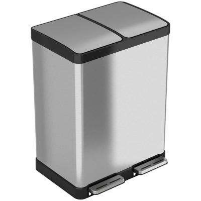 SoftStep 16 Gal. Stainless Steel Step Trash Can/Recycle Bin with Odor Filter and Separate 8 Gal. Removable Inner Bucket