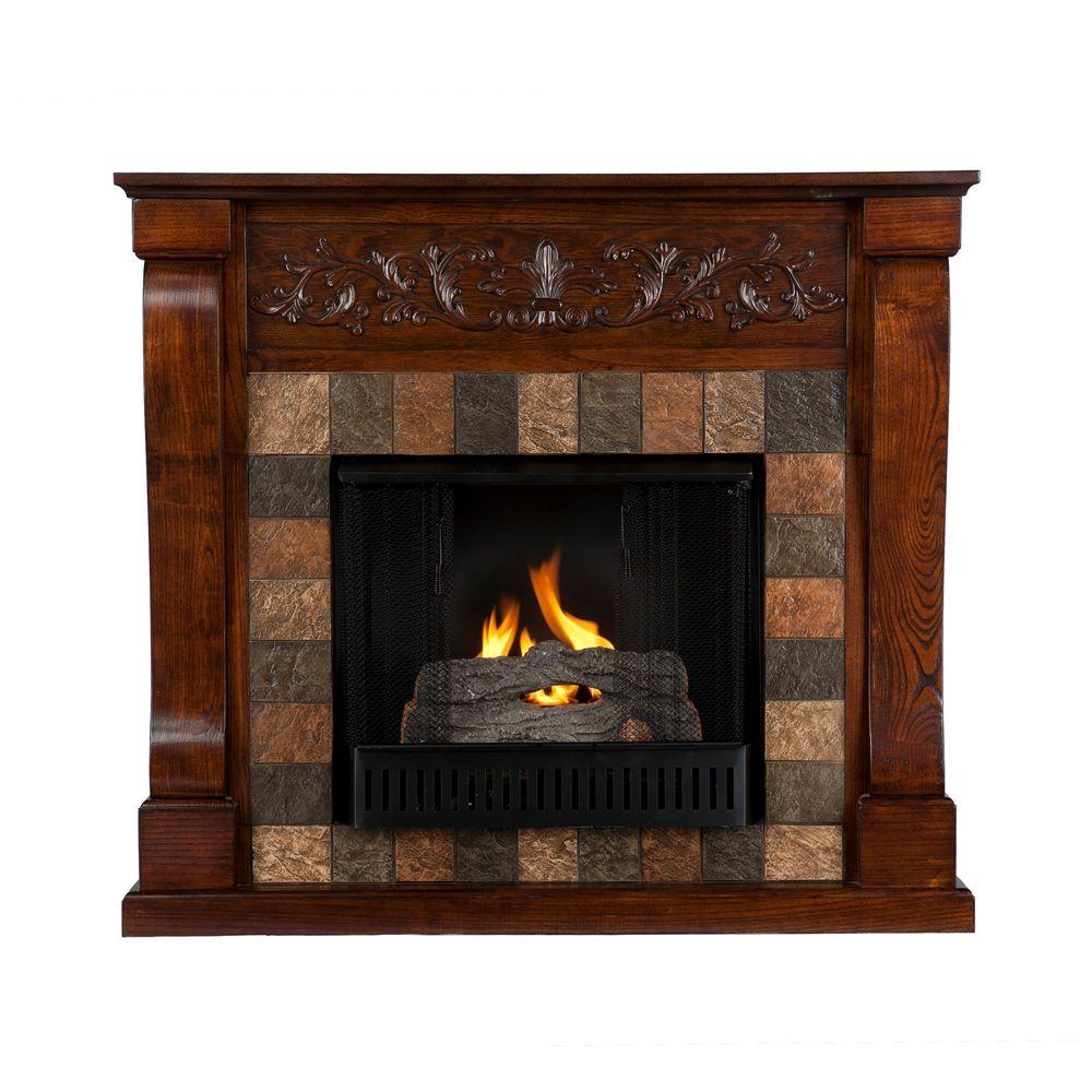 Southern Enterprises St. Lawrence 45 in. Gel Fuel Fireplace in Espresso with Faux Slate-DISCONTINUED