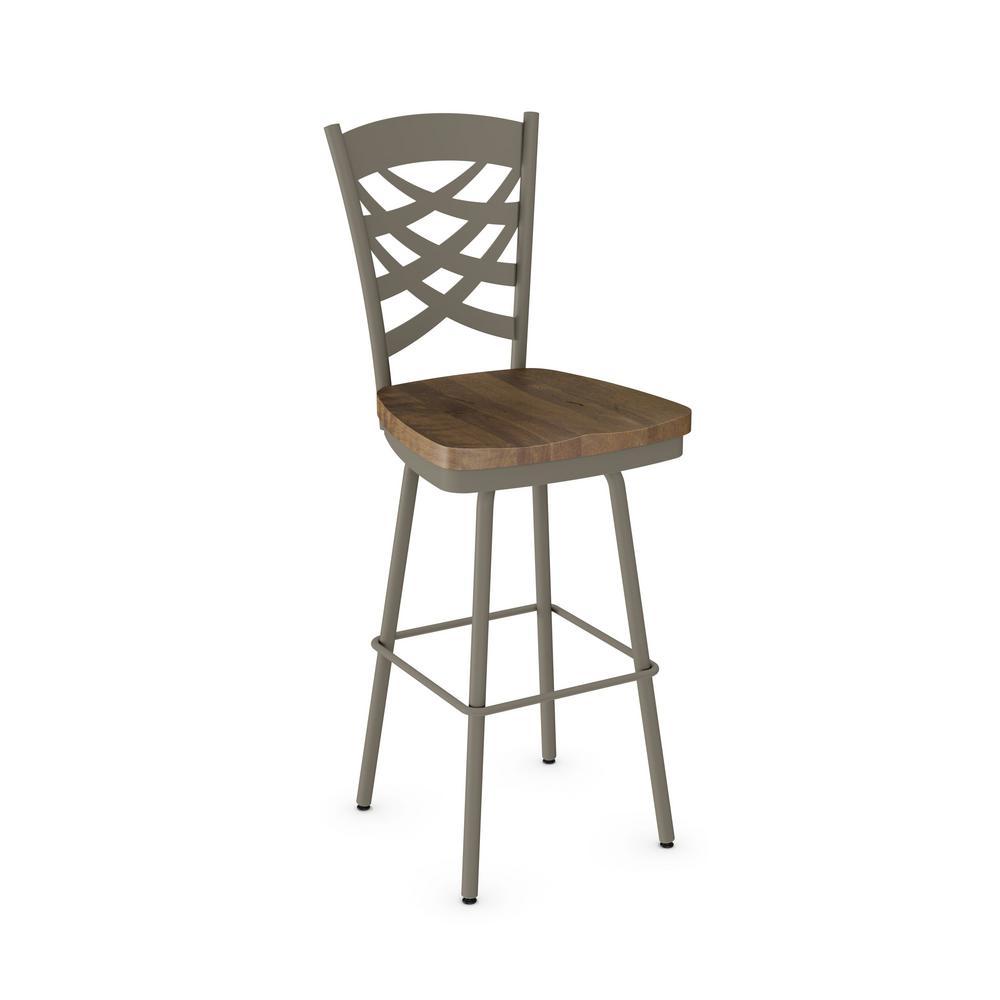 Wooden Revolving Stool Light Brown Swivel Bar Pub Chair: Weaver 26 In. Light Grey Metal Brown Wood Counter Stool