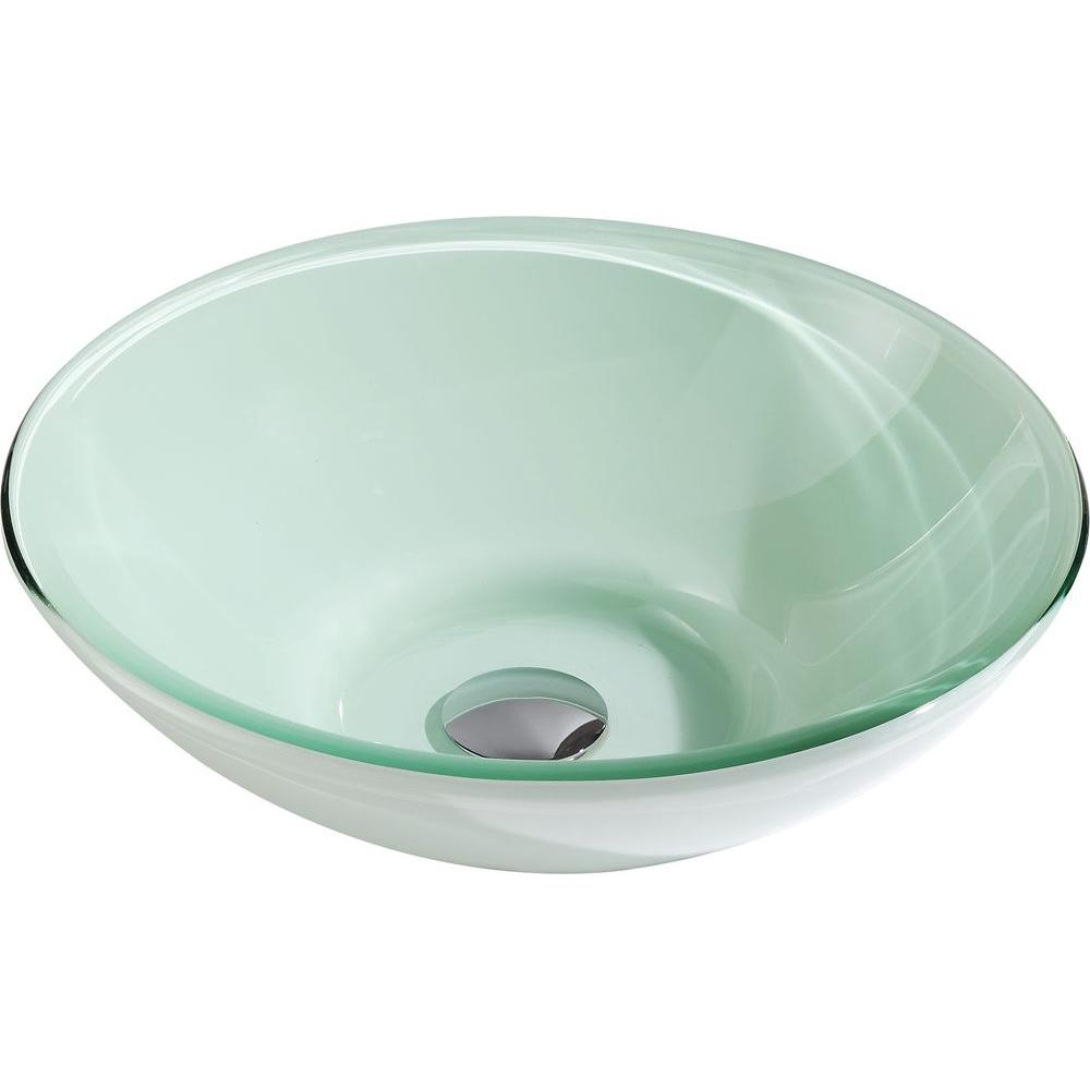 Anzzi Sonata Series Deco Glass Vessel Sink In Lustrous Light Green Ls Az083 The Home Depot