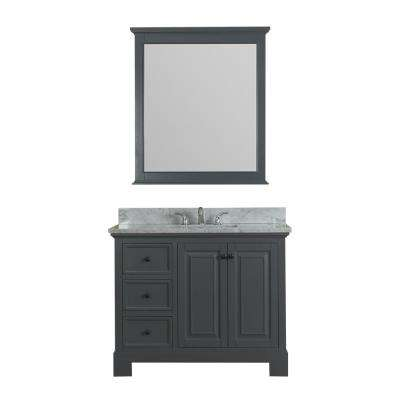 Richmond 42 in. W x 22 in. D Vanity in Gray with Marble Vanity Top in White with White Basin and Mirror
