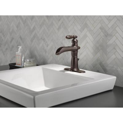 Victorian Single Hole Single-Handle Open Channel Spout Bathroom Faucet with Metal Drain Assembly in Venetian Bronze