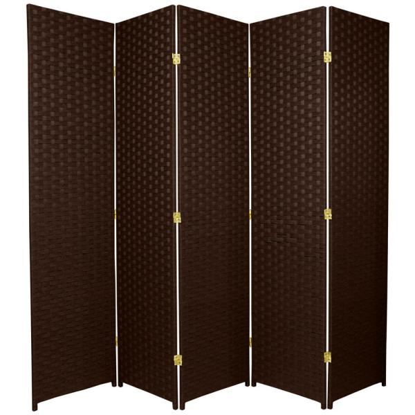 6 ft. Dark Mocha 5-Panel Room Divider