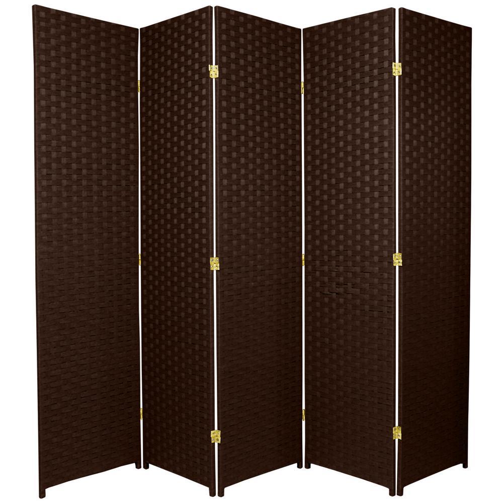 6 ft. Dark Mocha 5-Panel Room Divider