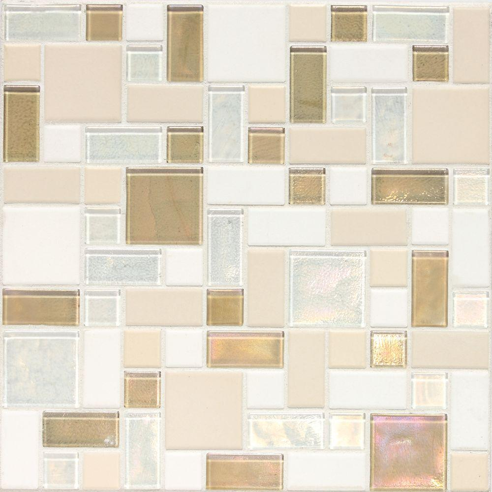 Daltile Coastal Keystones Coconut Beach Random Joint 12 in. x 12 in. x 6 mm Glass Mosaic Floor and Wall Tile
