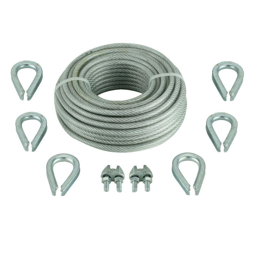Crown Bolt 1/8 in. x 30 ft. Galvanized Vinyl-Coated Wire Rope Kit ...