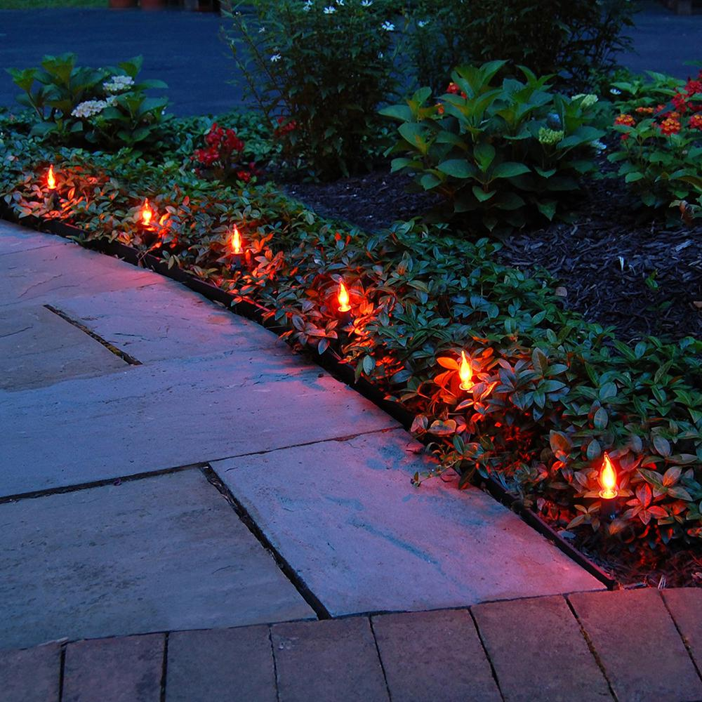 Electric Pathway Lights Flickering Orange (10-Count)