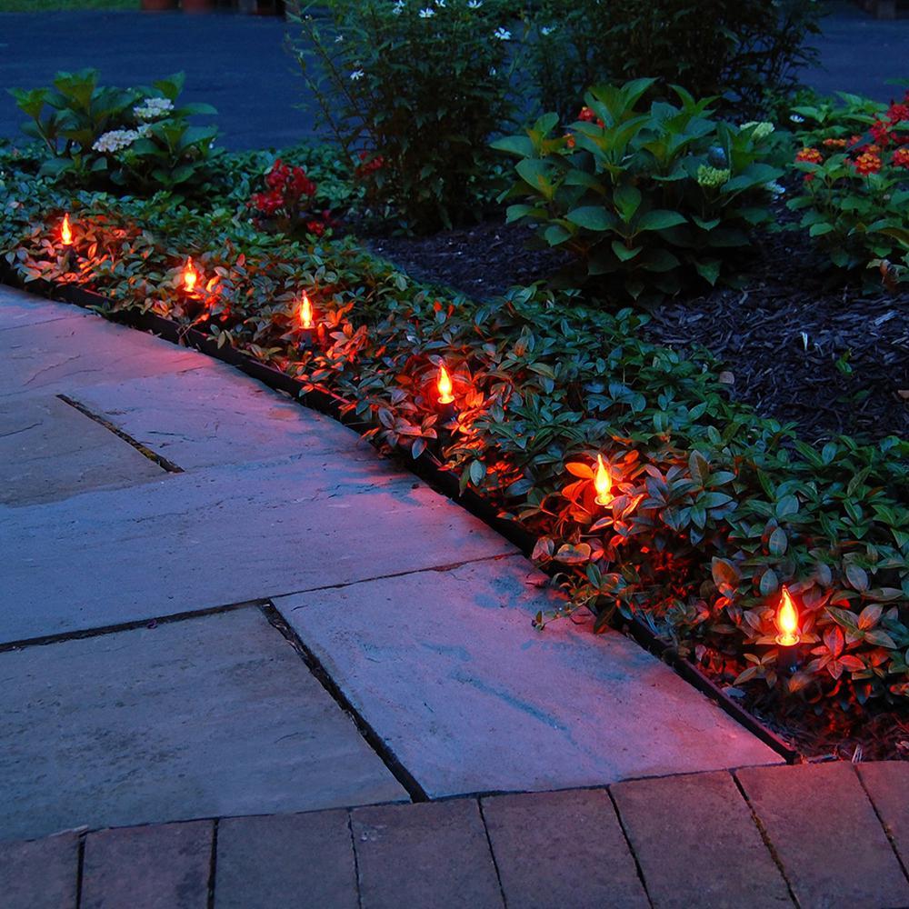 Electric Pathway Lights Flickering Orange (10-Count)