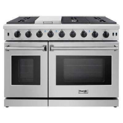 Pre-Converted Propane 48 in. 6.8 cu. ft. Double Oven Gas Range in Stainless Steel with Griddle and 6-Burners